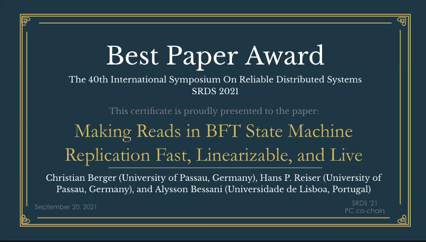 Best Paper Award @ SRDS'21